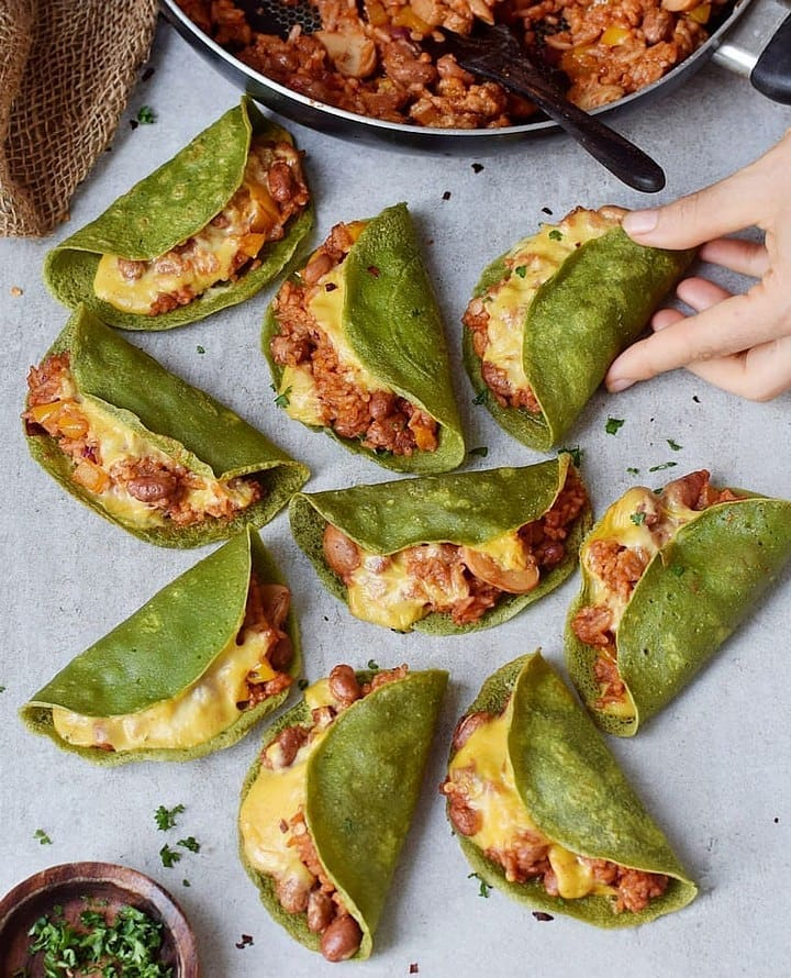 Oven Baked Spinach Tacos